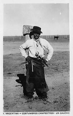 ARGENTINA, GAUCHO IN TYPICAL COSTUME POSING, REAL PHOTO PC ~ c. 1910-20