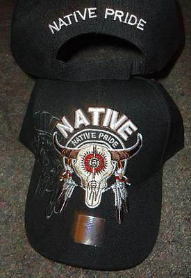 Native Pride NDN New Embroidered Black Buffalo Skull Eagle Feathers Ball Cap Hat