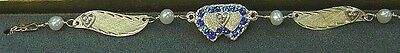 """Brand New 14K Gold 3 Diamond Hearts/BLUE SAPPHIRE 10"""" Anklet ~Free Engrave/Ship~"""