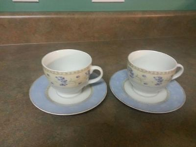 Set Of 2 Cups & Saucers Enchanted Garden Fine China- Heritage Mint