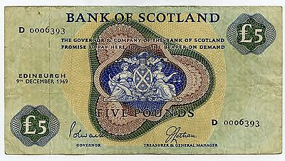 Bank Of Scotland £5 Five  Pound Banknote  9Th December 1969