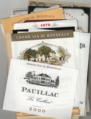 Beautiful Lot 8 Of 100 French Wine Labels Only Bordeaux - Free Shipping