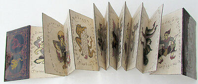 Vintage Thai Mystical Hand Painted Illustrated Folding Book Lacquer Wood Covers
