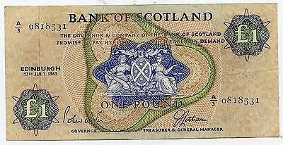 BANK OF SCOTLAND £1 One  POUND BANKNOTE  17TH JULY 1968