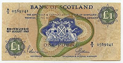 BANK OF SCOTLAND £1 One  POUND BANKNOTE  18TH AUGUST 1969