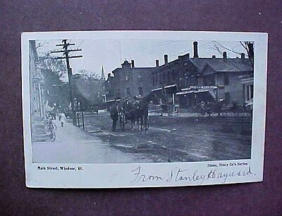 Main Street, Windsor, Vermont - Horse And Buggy  - Postcard