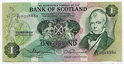 BANK OF SCOTLAND £1 One  POUND BANKNOTE  25TH AUGUST 1977