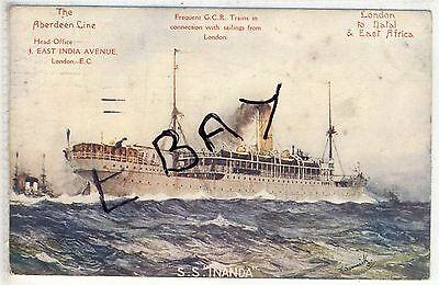 S.s. Inanda  The Aberdeen Line London To Natal & East Africa
