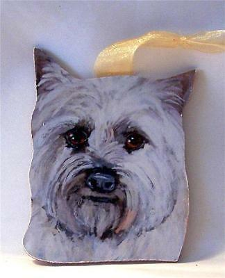 White Cairn Terrier Dog Hand Painted Wood Christmas Ornament Gift USA #2