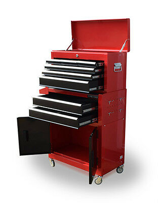 384 Us Pro Tools Mechanics Tool Chest Box Roller Cabinet 8 Drawers Red Black