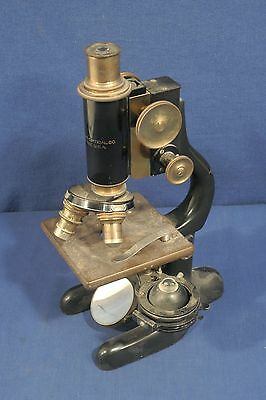 Vintage Antique Bausch + Lomb Microscope 3 Brass Lenses Brass Knobs Pat. 1915