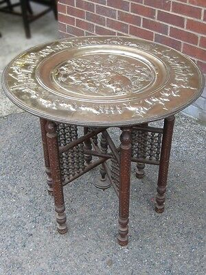 Victorian antique Indian brass carved rosewood folding Benares coffee side table