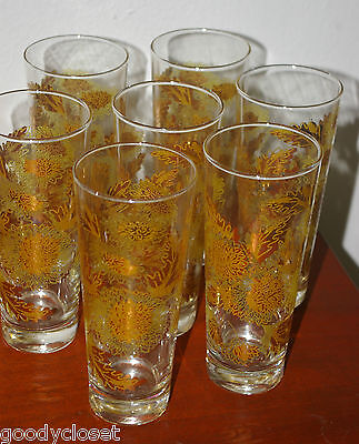 Lot Of 7 Culver Gold Chrysanthemums 22K Gold Ice Tea/highball Glasses 1950's