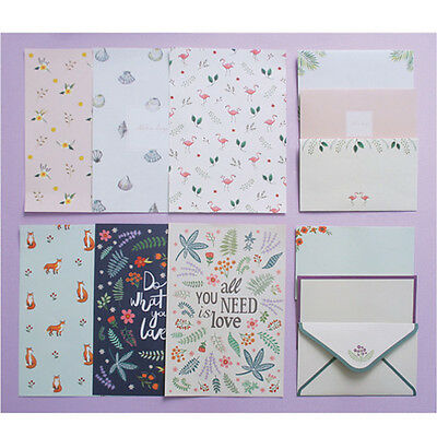 Cute Animal&Nature Pattern Letter set 4sh Writing Stationery Paper 2sh Envelope