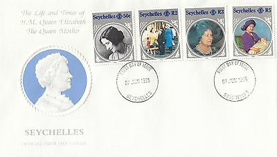 (94954) CLEARANCE Seychelles FDC Queen Mother Life & Times 7 June 1985