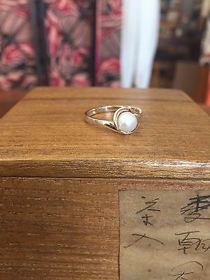 Stunning 10K solid yellow gold ring w beautiful cultured pearl size 7 / 2.7gram