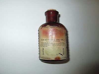 VINTAGE BROWN GLASS EMBOSSED POISON BOTTLE w/ ELI LILLY LABEL Mercury Bichloride