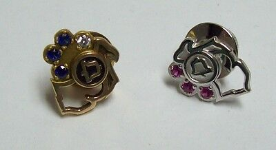 Pair BELL TELEPHONE Gold Filled Service Pins