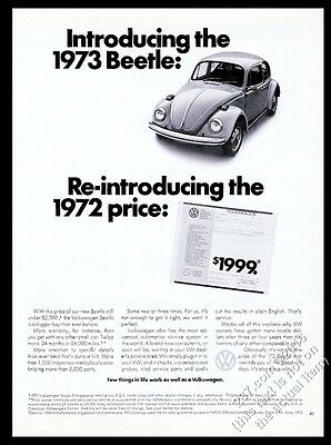 1973 VW Volkswagen Beetle classic car photo 1972 price vintage print ad