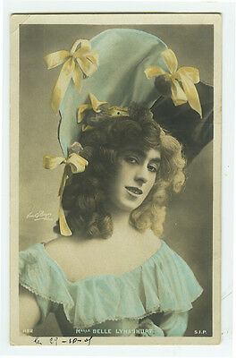 c 1907 French Theater BELLE LYNASHURT Music Hall Cabaret tinted photo postcard
