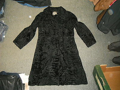 Vintage kürschner wertarbeit Curly Persian Lamb Fur Coat Long Black Wool