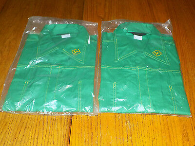 2 New Old Stock  Vintage Protexall Green John Deere Dealer  Logo  Shirts Size XL