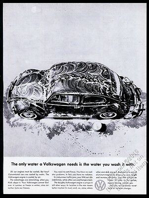 1959 VW Volkswagen Beetle classic car soapy photo vintage print ad