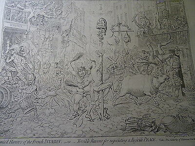 J. Gillray Large Triple Caricature Horrors French Invasion Peace Paris Budget