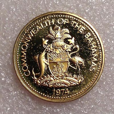 Bahamas 1 Cent 1974 Great PROOF Coin Brass   #1288