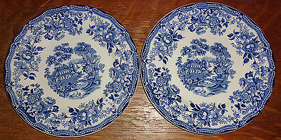 Alfred Meakin Staffordshire Blue Tonquin 2 Salad Plates Lot SH