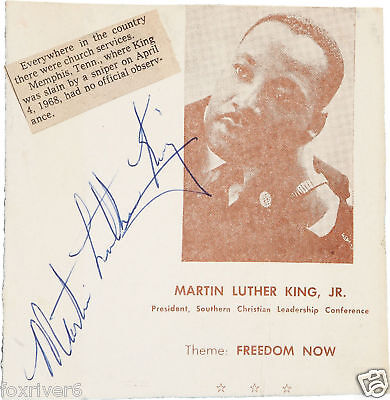 MARTIN LUTHER KING Signed Flyer - US Civil Rights Leader