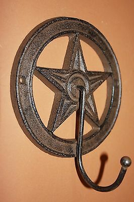 "(6)pcs, TEXAS COUNTRY HOME DECOR, LONE STAR WALL HOOK, CAST IRON 5 3/8"", W-11"