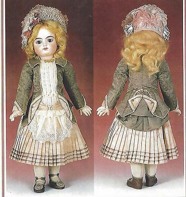 "22""antique French F.g/jumeau@1882-90 Doll Jacket-Dress Pattern German Child"