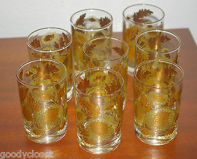 Lot Of 8 Culver Gold Chrysanthemums 22K Gold Juice Glasses 1950's