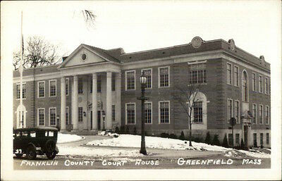 Greenfield MA County Court House Real Photo Postcard