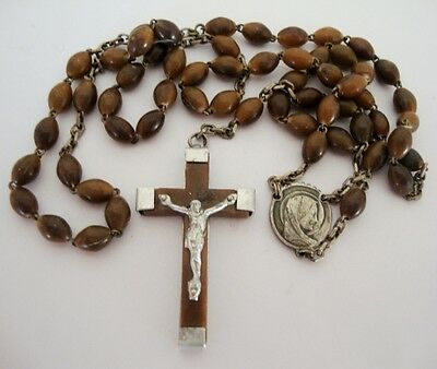 Vintage 5 Decade Rosary Brown Beads with Crucifix