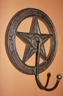 "(7)pcs, TEXAS COUNTRY HOME DECOR, LONE STAR WALL HOOK, CAST IRON 5 3/8"", W-11"