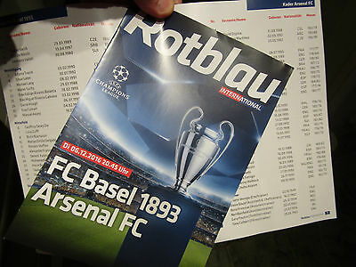 06.12. 2016 Champions League Official Programme / Match FC BASEL  v  ARSENAL FC