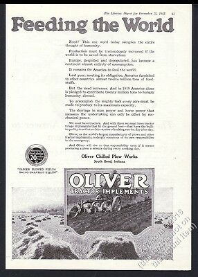 1918 Oliver tractor plow farm field plowing art vintage print ad