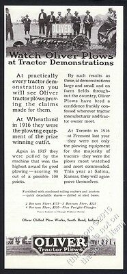 1918 Oliver tractor plow farm photo vintage print ad
