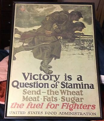 Original WW 1 Poster Victory is a Questions of Stamina Issued by US Food Admin.