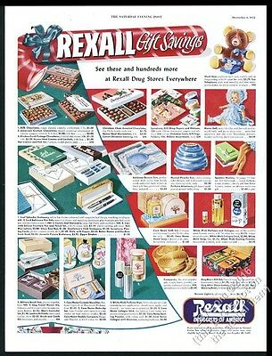 1952 Rexall drugs drug store Christmas present gifts color art vintage print ad