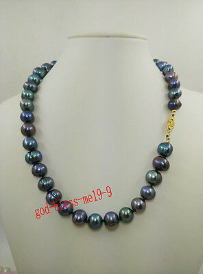 """18"""" Striking 10-11mm real Tahitian Black natural color pearl necklace 14k clasp"""