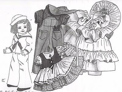 "Lot)27""cloth/soft Sculpture Shirley Temple Doll&movie Wardrobe/dress&hat Pattern"