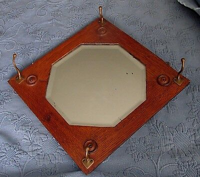 Antique Victorian Oak beveled Glass Mirror with 4 Hat Hooks