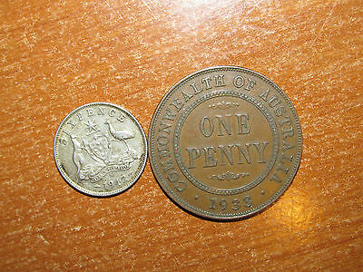 Australia 1933 Penny & 1942 S silver Sixpence coin lot Very Fine nice