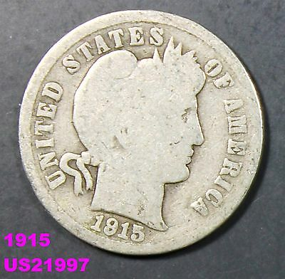 1915 BARBER DIME 90% silver circulated