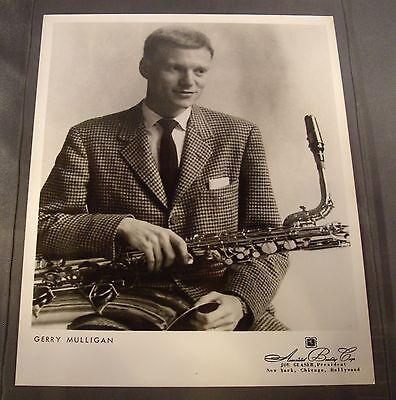Original 1950's 8 x 10 Publicity Photo Gerry Mulligan with Baritone Saxophone