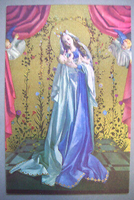 Virgin Mary with baby Jesus CHRISTMAS VINTAGE GREETING CARD *Q