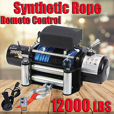 12000LBS / 5440KG Electric Winch Synthetic Rope ATV 4WD BOAT 12V Wirless Remotes